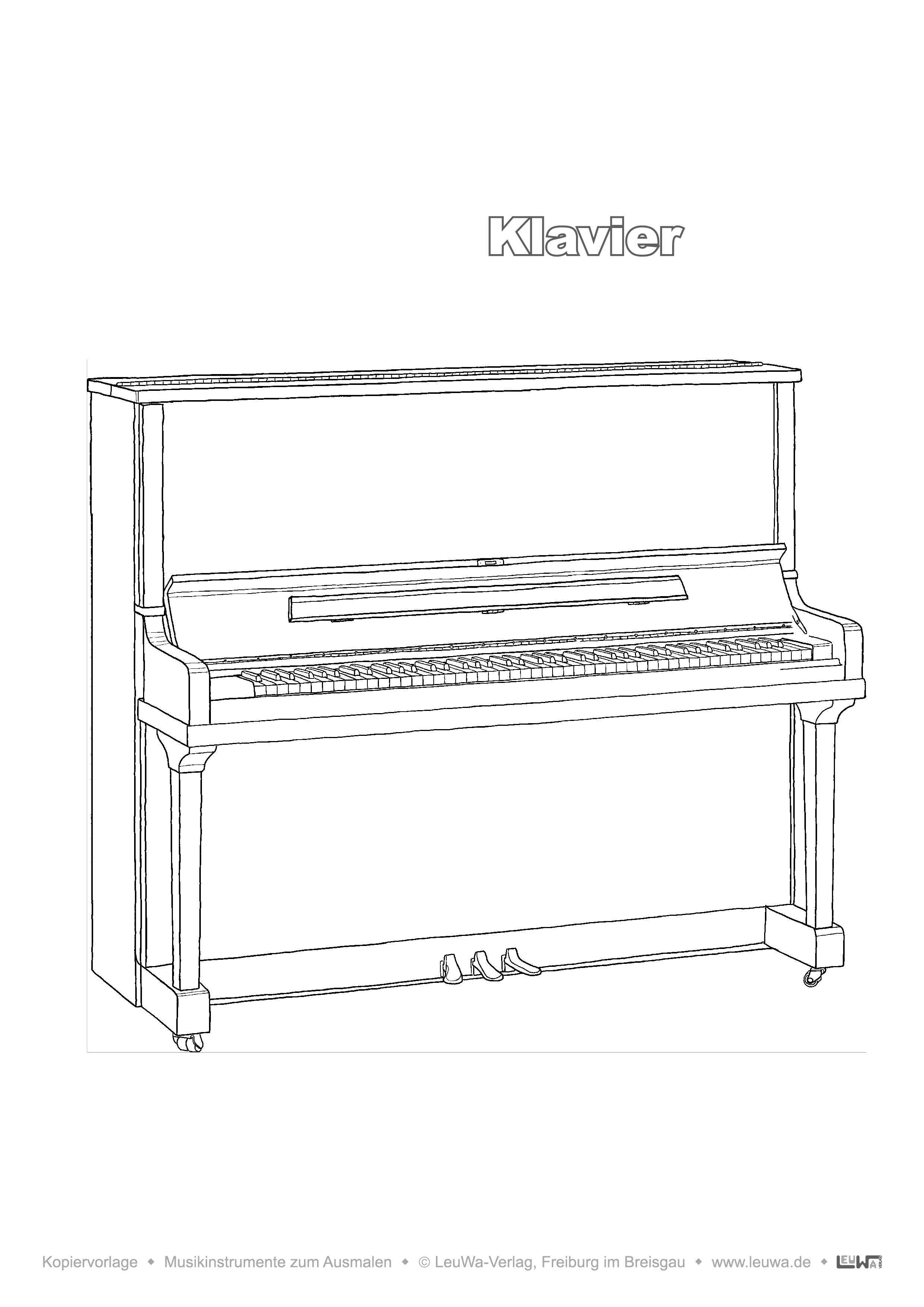 Musikinstrument Zum Ausmalen Klavier Unterrichtsmaterial In Den Fachern Kunst Musik Musikinstrumente Kindergarten Musik Musik