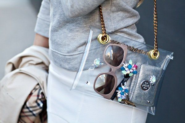 DIY Embellished PVC Shourouk Bag #diy #fashionindie @Gracia Gomez-Cortazar / Stripes & Sequins @M Trimming #