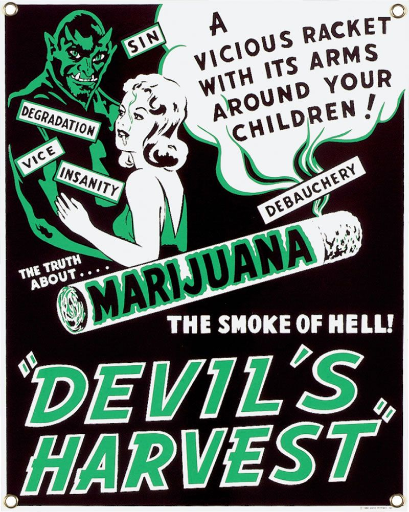 Devils Harvest Marijuana Anti Drugs Vintage Fridge Magnet