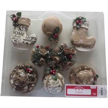 Holiday Time 8 Piece Cap And Stocking Christmas Ornaments Walmart Com Navidad