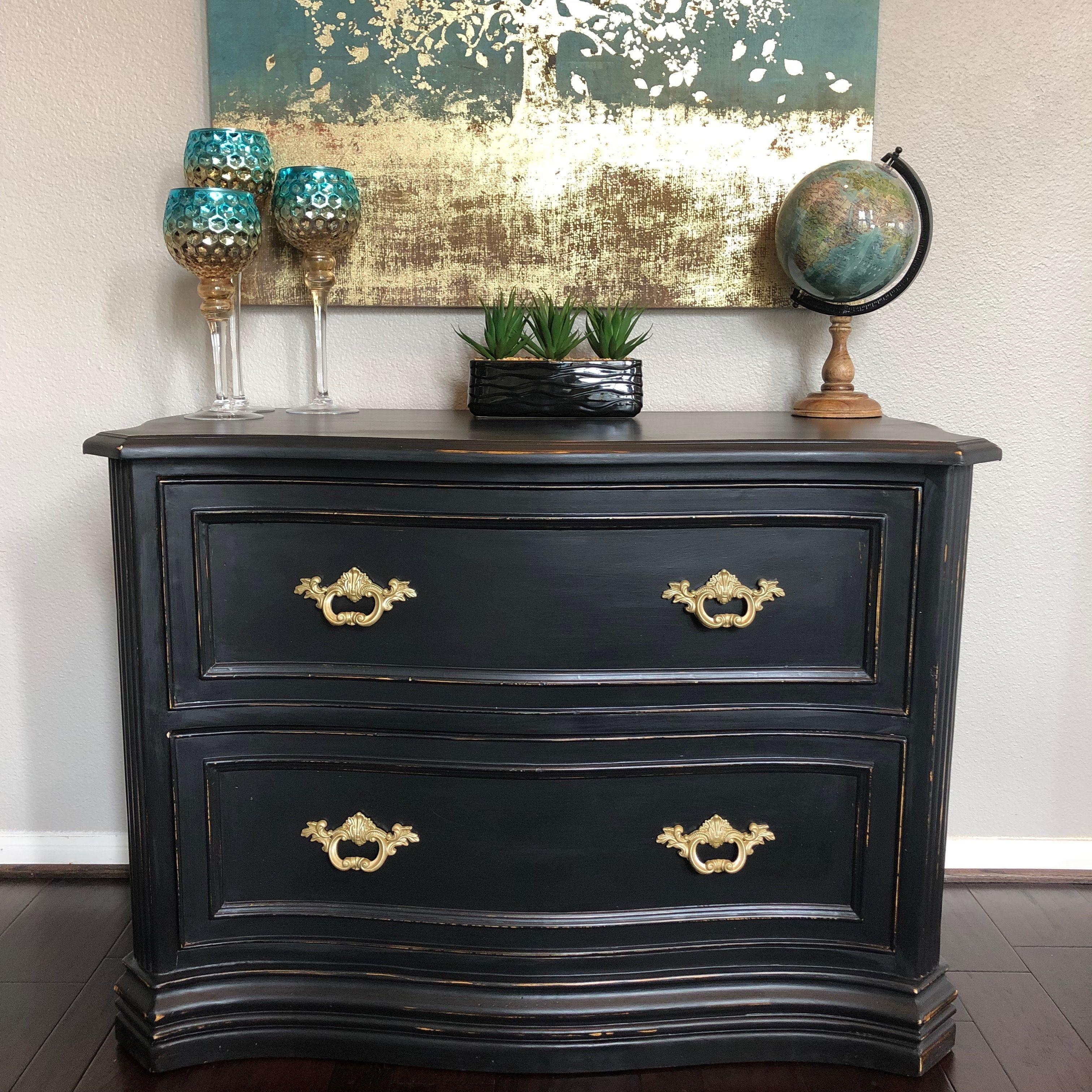 Black And Gold Handles Dresser As Nightstand Gold Handles Antique Dresser