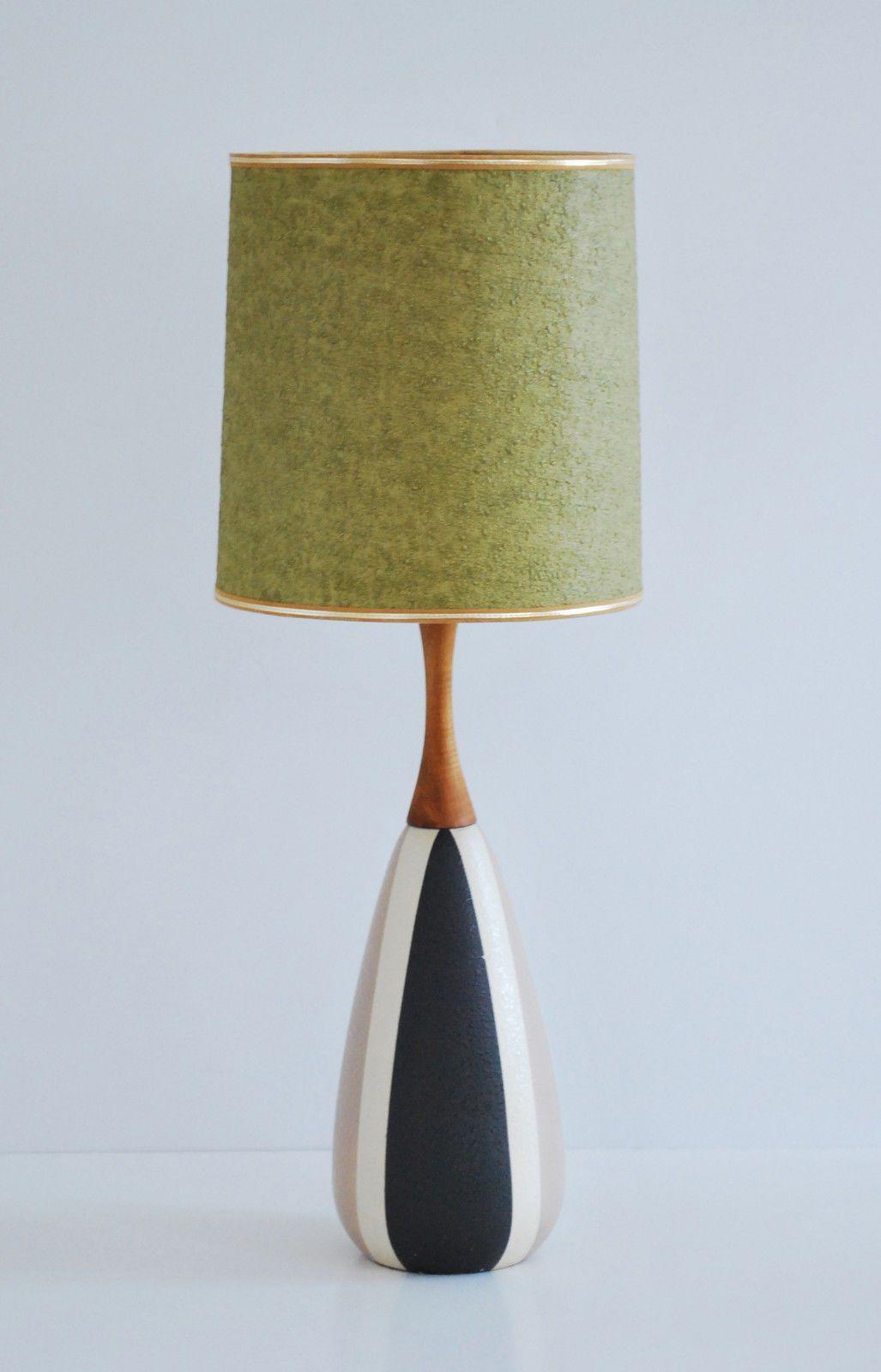 Mid Century Modern Vintage Danish Ceramic Teak Table Lamp Ebay