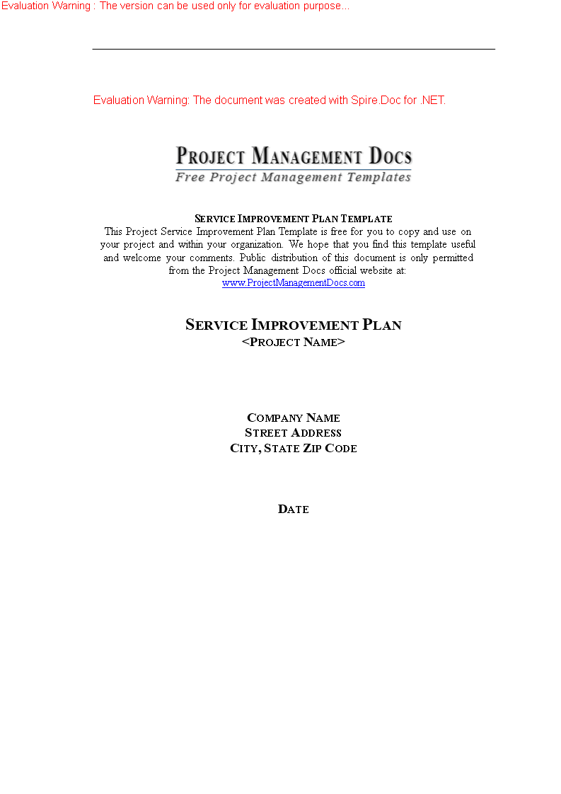 Itil Service Improvement Plan Template - Sample Service Improvement ...