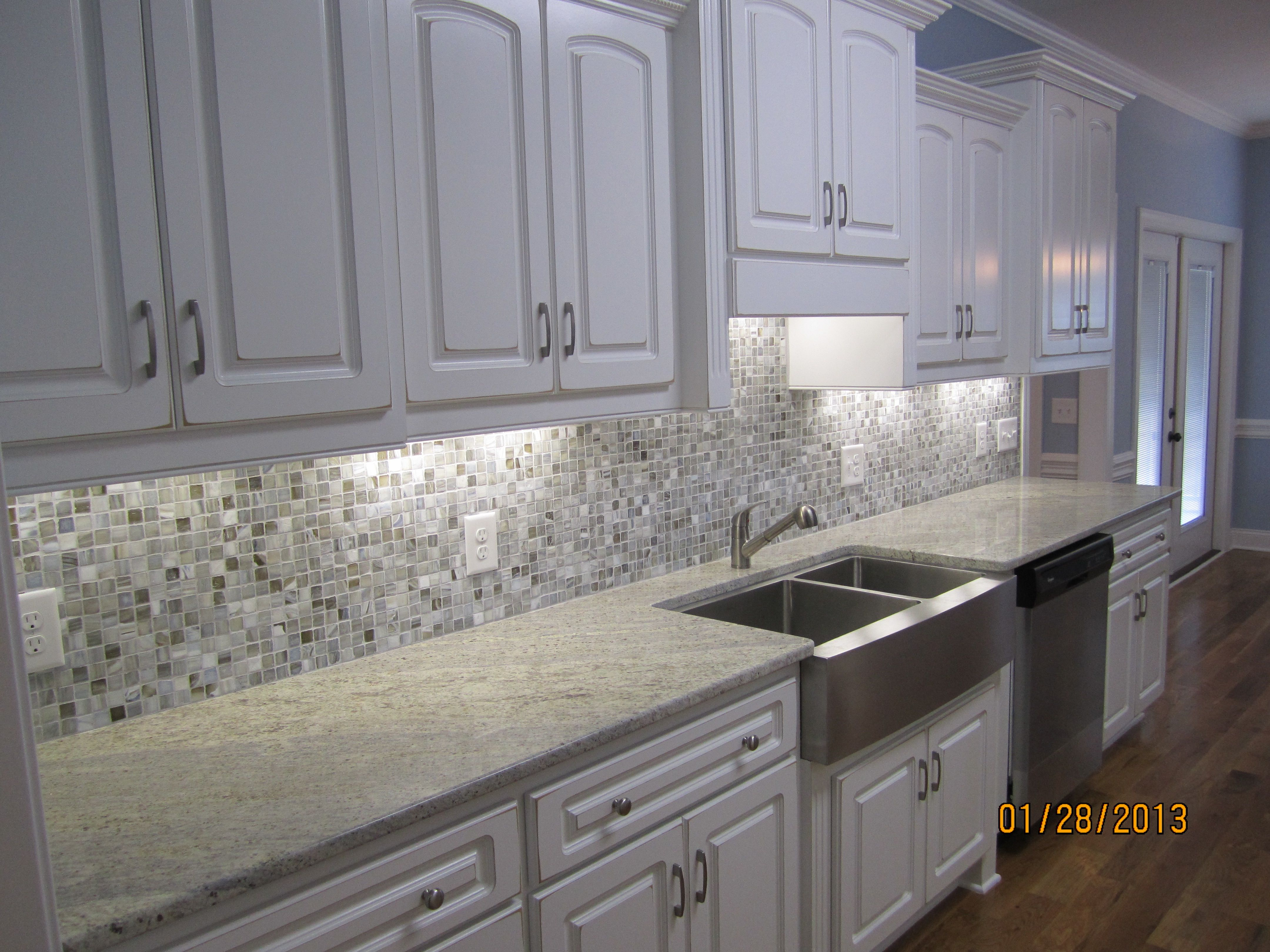 Image result for cream cabinets grey glass backsplash grey ...