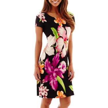 Tiana B. Exploded Floral Short Sleeve Sheath Dress - JCPenney
