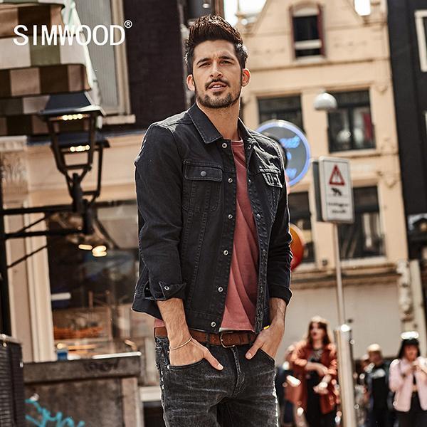 Simwood 2018 Spring Denim Jackets Men Fashion Pocket Men S Jean