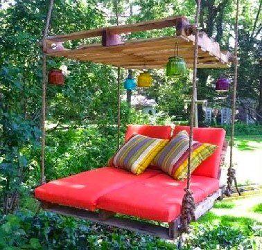 Machen Sie ein Garten-Wohnzimmer in einer Palette ...