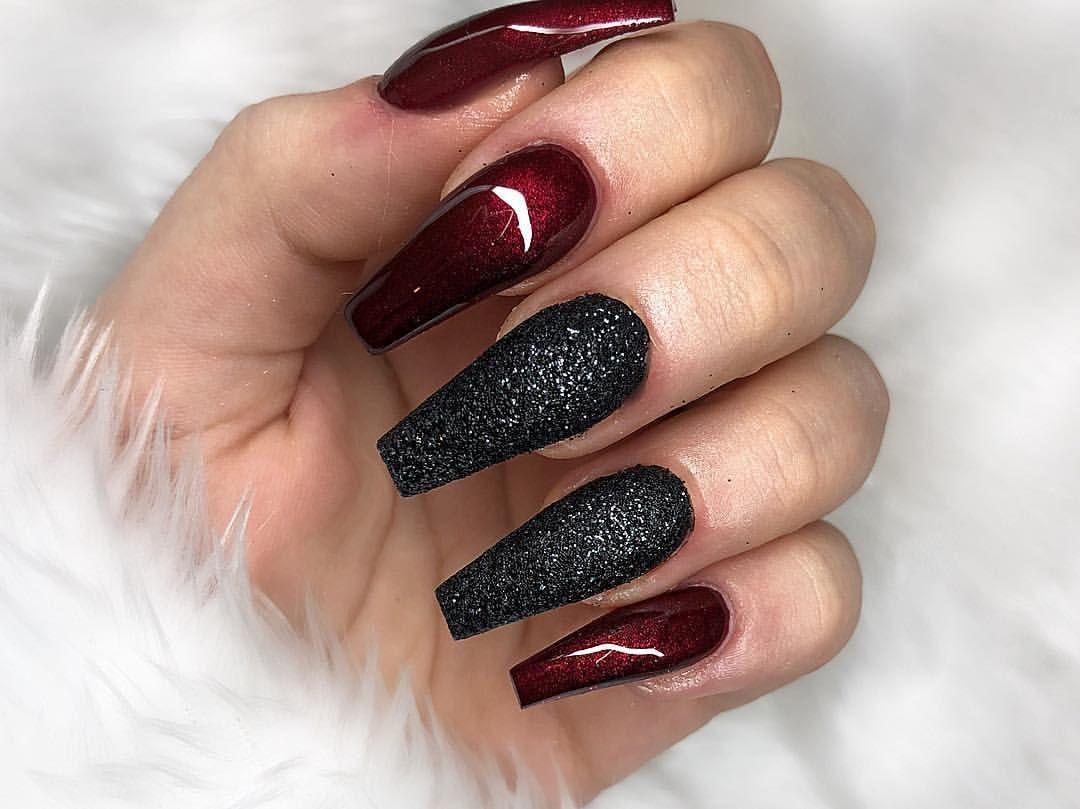 Black Cherry Black Sugar Nail Sugar Nails Cherry Nails Black Acrylic Nails