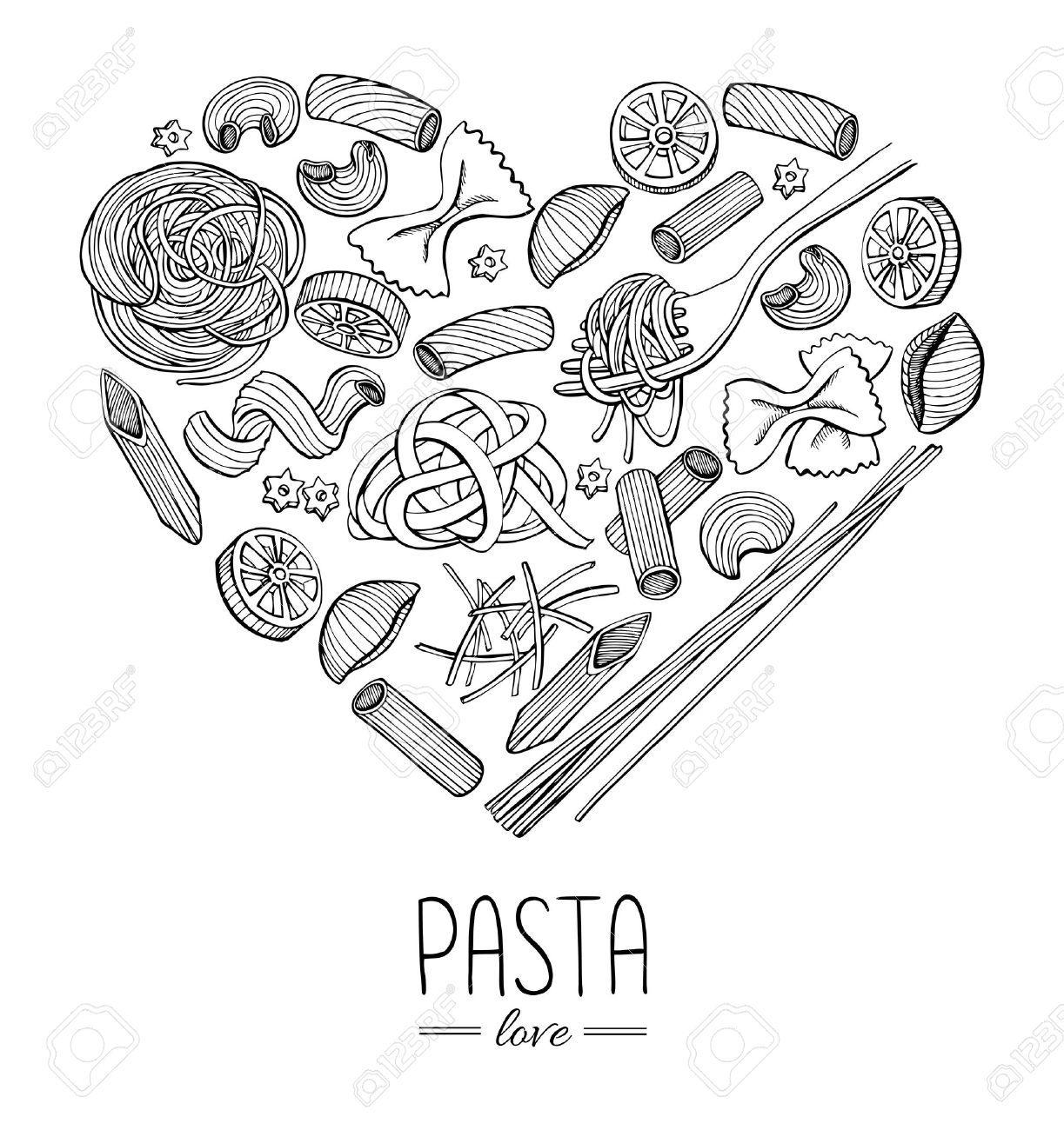 Vector Vintage Italian Pasta Restaurant Illustration In Heart Shape Hand Drawn Banner Great For Menu Banner Pasta Restaurants Italian Pasta Banner Drawing