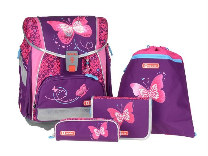 Step By Step Touch 2 Flash Schulranzen Set 4 Teilig Shiny Butterfly Mit Led Blinklicht Schulranzen Set Schulranzen Schuleretui