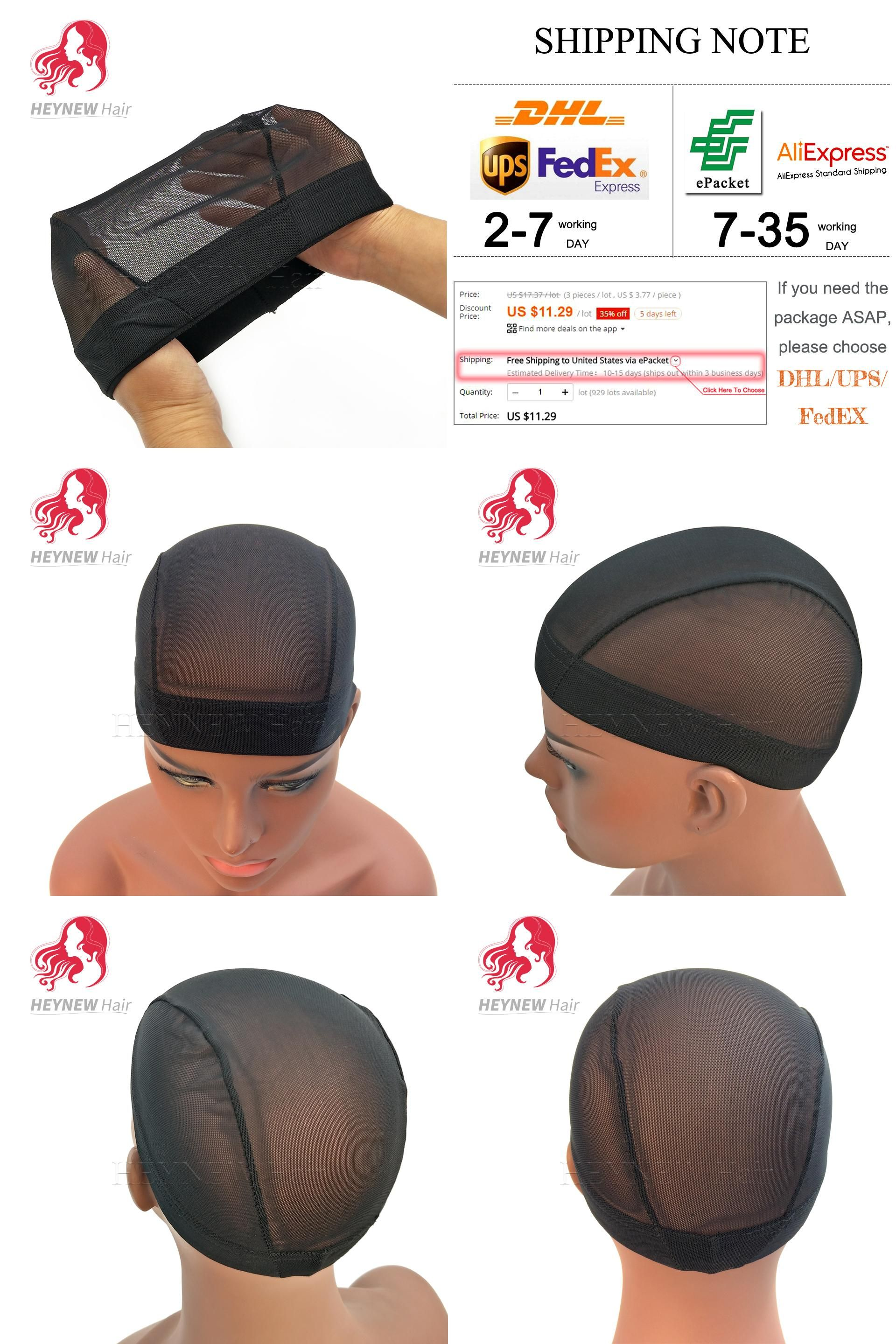 75f27b904a3 Visit to Buy  3PCS Lot Dome Style Mesh Wig Cap For Making Wigs Black ...