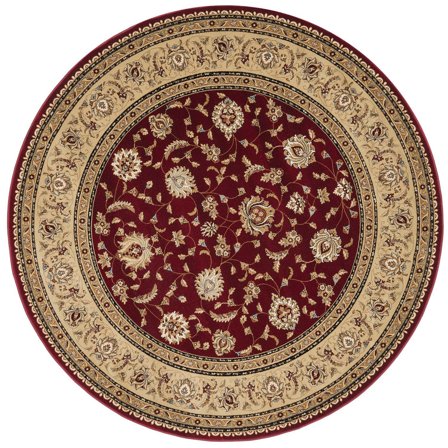 Alexander Home Primeval Red Oriental Rug 7 Round Polyester Border