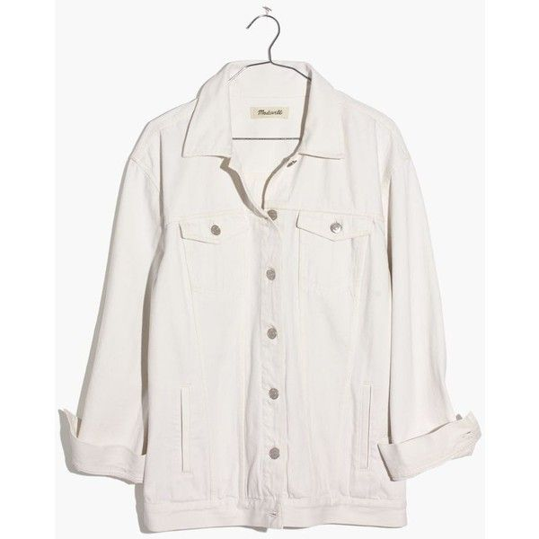 MADEWELL The Oversized Jean Jacket in Tile White (712705 PYG) ❤ liked on Polyvore featuring tile white and madewell