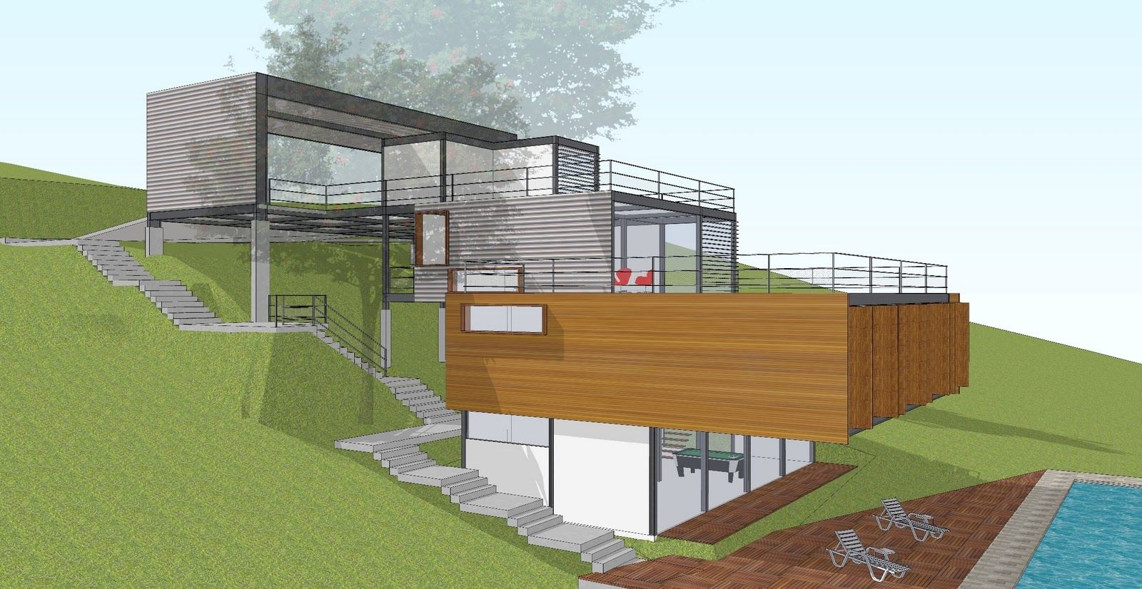 Casa terreno acidentado fachada pinterest casas casas modernas y casas campestres - Casa con terreno ...