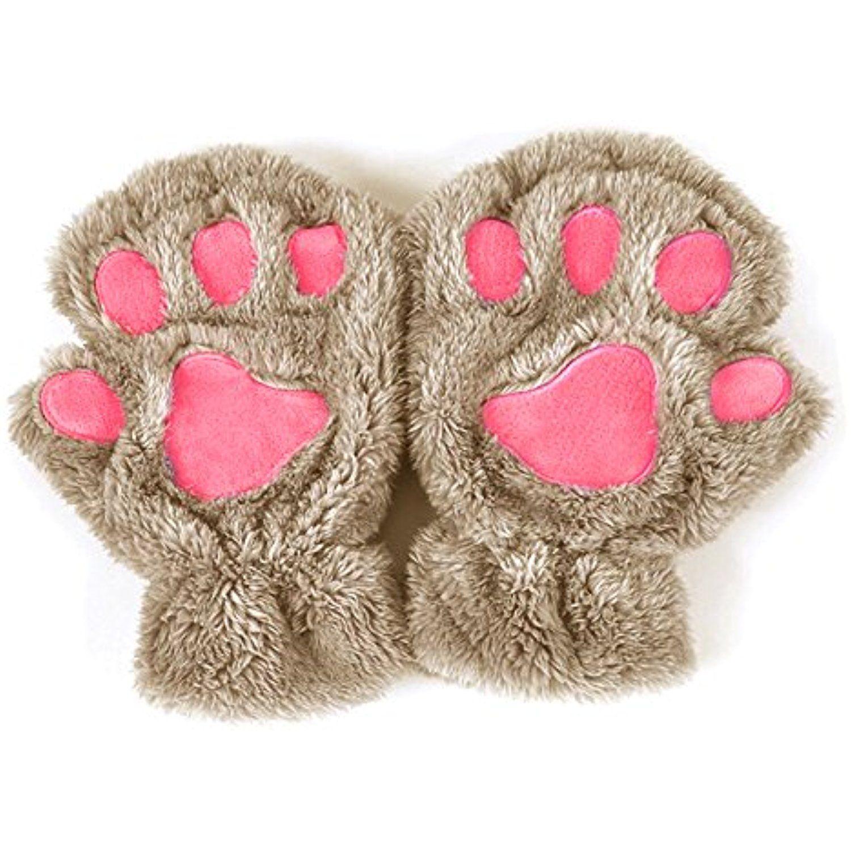 Doober Women Winter Fluffy Bear Cat Glove Half Finger Cute Gloves Mittens Khaki Click Image To Review More Paw Gloves Fingerless Paw Gloves Kitten Mittens