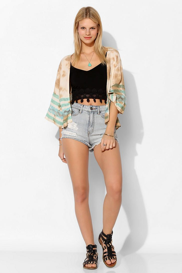WYLDEHEART Lace Ring Kimono Jacket - Urban Outfitters