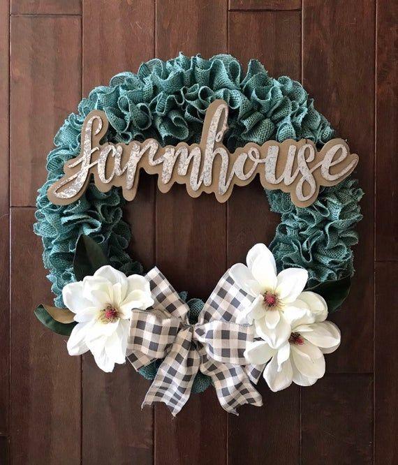 Photo of Farmhouse Turquoise Burlap Wreath for Front Door,  Everyday Magnolia Wreath, Front Door Burlap Wreath with Farmhouse Sign