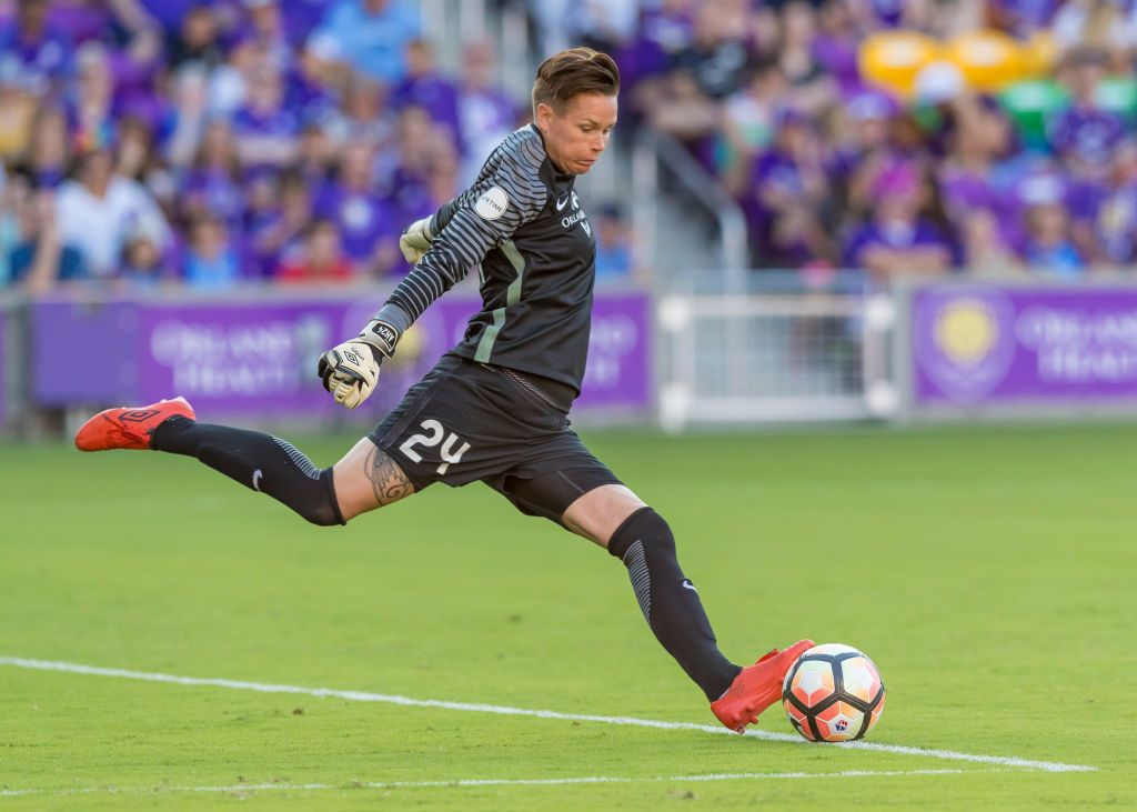3de088a15 Orlando Pride goalkeeper Ashlyn Harris (24) goal kick During the NWSL soccer  match between the Orlando Pride and North Carolina Courage on May 14th