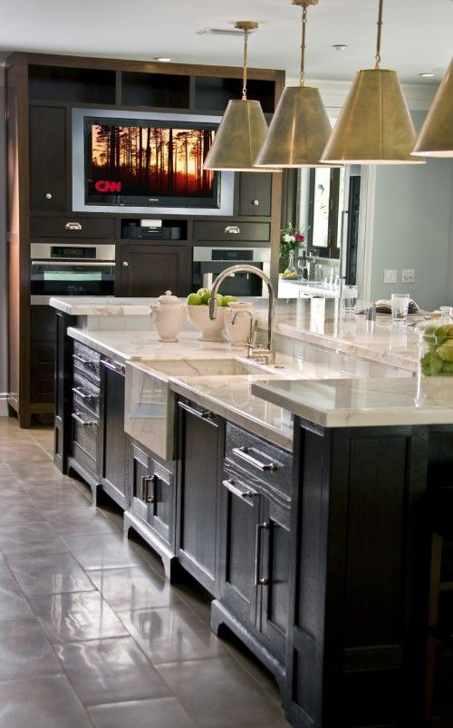 Like The Calacatta Marble Veg Sink Two Tier Island Kitchen Island With Sink Kitchen Island With Sink And Dishwasher Kitchen Island Design