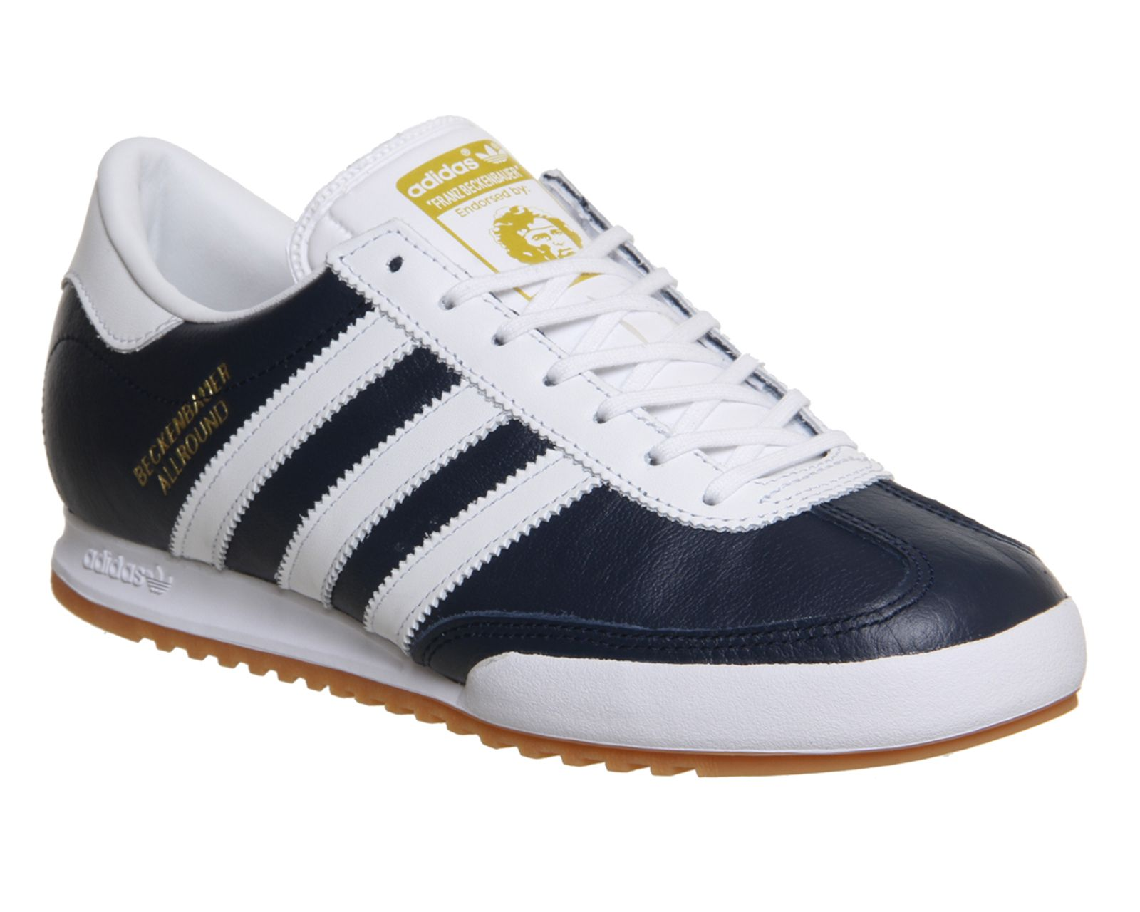 3c6ae67762f5 Adidas Beckenbauer NAVY WHITE GOLD METALLIC Trainers Shoes in 2019 ...