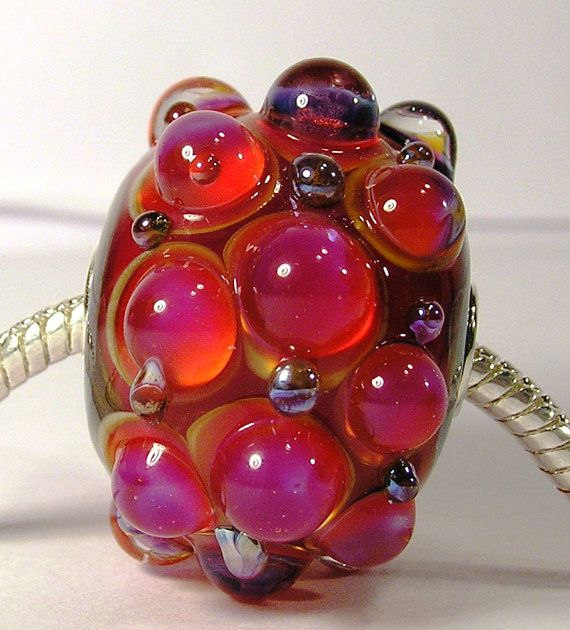 Loganberry  Large Handmade Charm Lampwork Focal by PrincessPeggy, £15.50