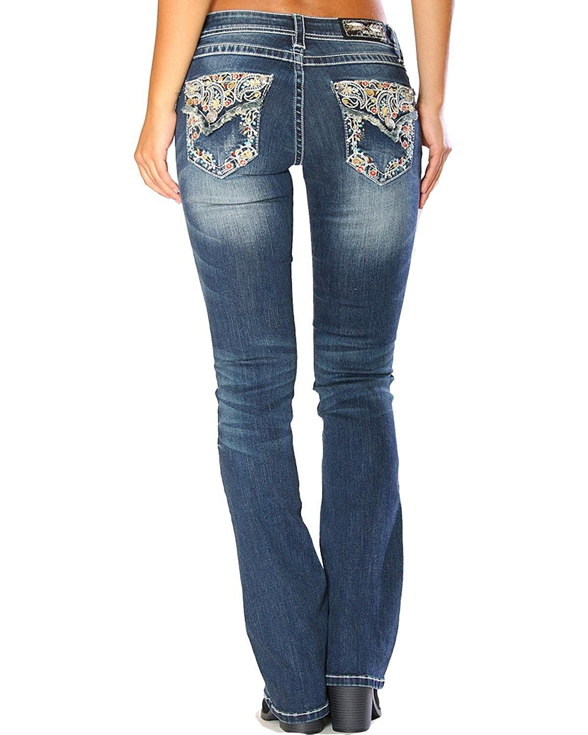 c0392ac2daf Grace in LA Women's Blue Floral Embroidered Flap Jeans Boot Cut - EB3202