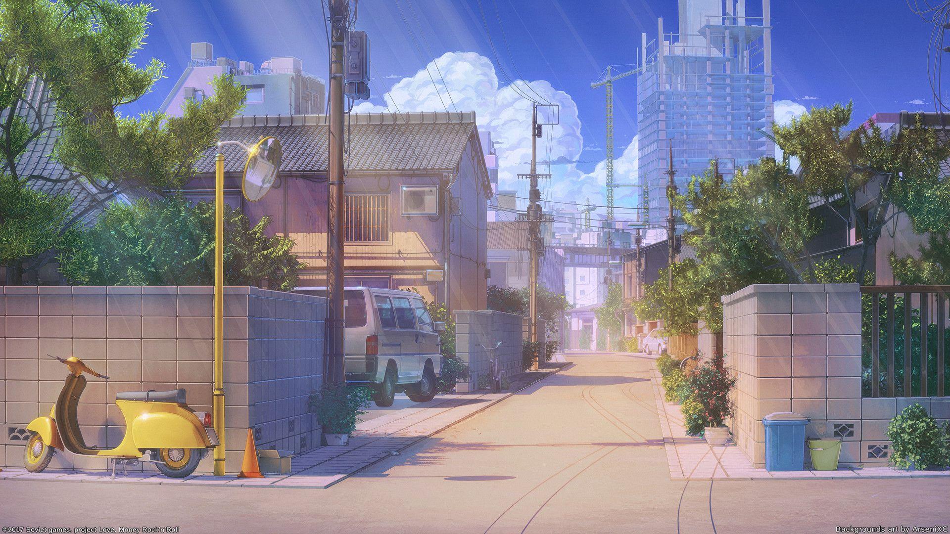 Japan Street By Arseniy Chebynkin 1920x1080 Scenery Background Japan Street Anime Scenery