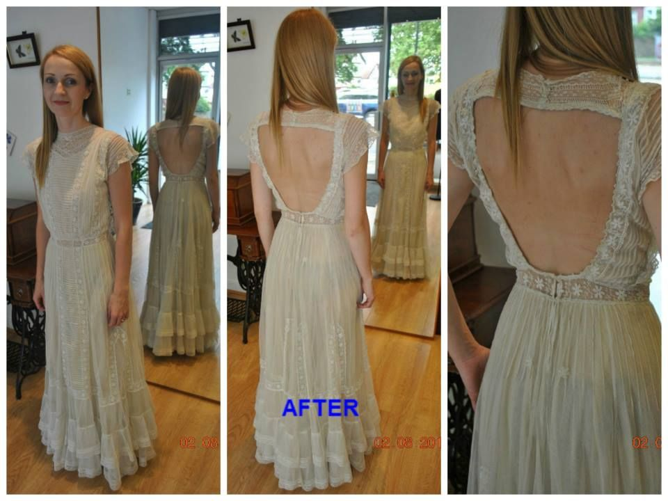 Vintage Victorian Wedding Dress Cut Open Back Cap Sleeves