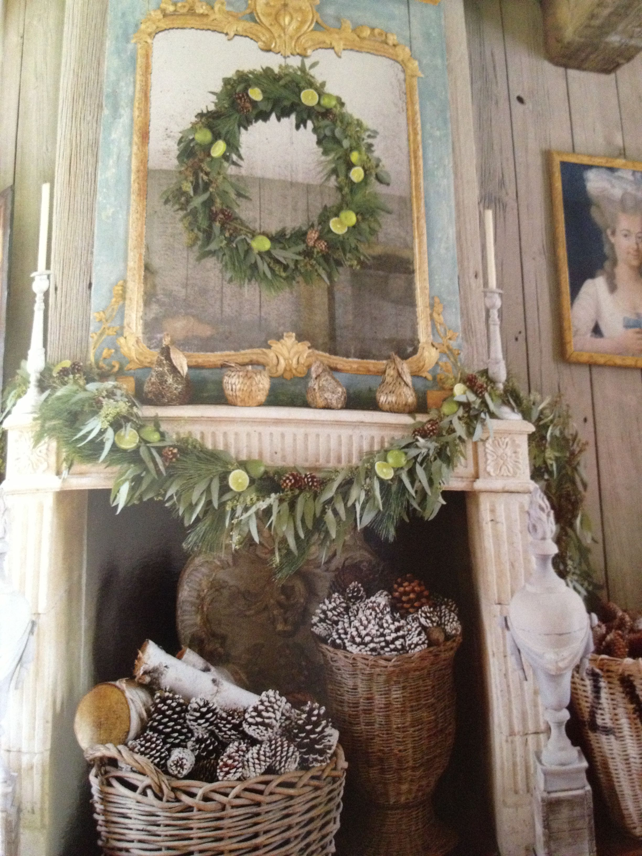 Mantle And Fireplace Decorated With All Natural Elements Via Veranda