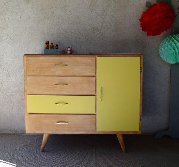 Commode années 60 jaune citron - Banaborose | Furniture | Pinterest