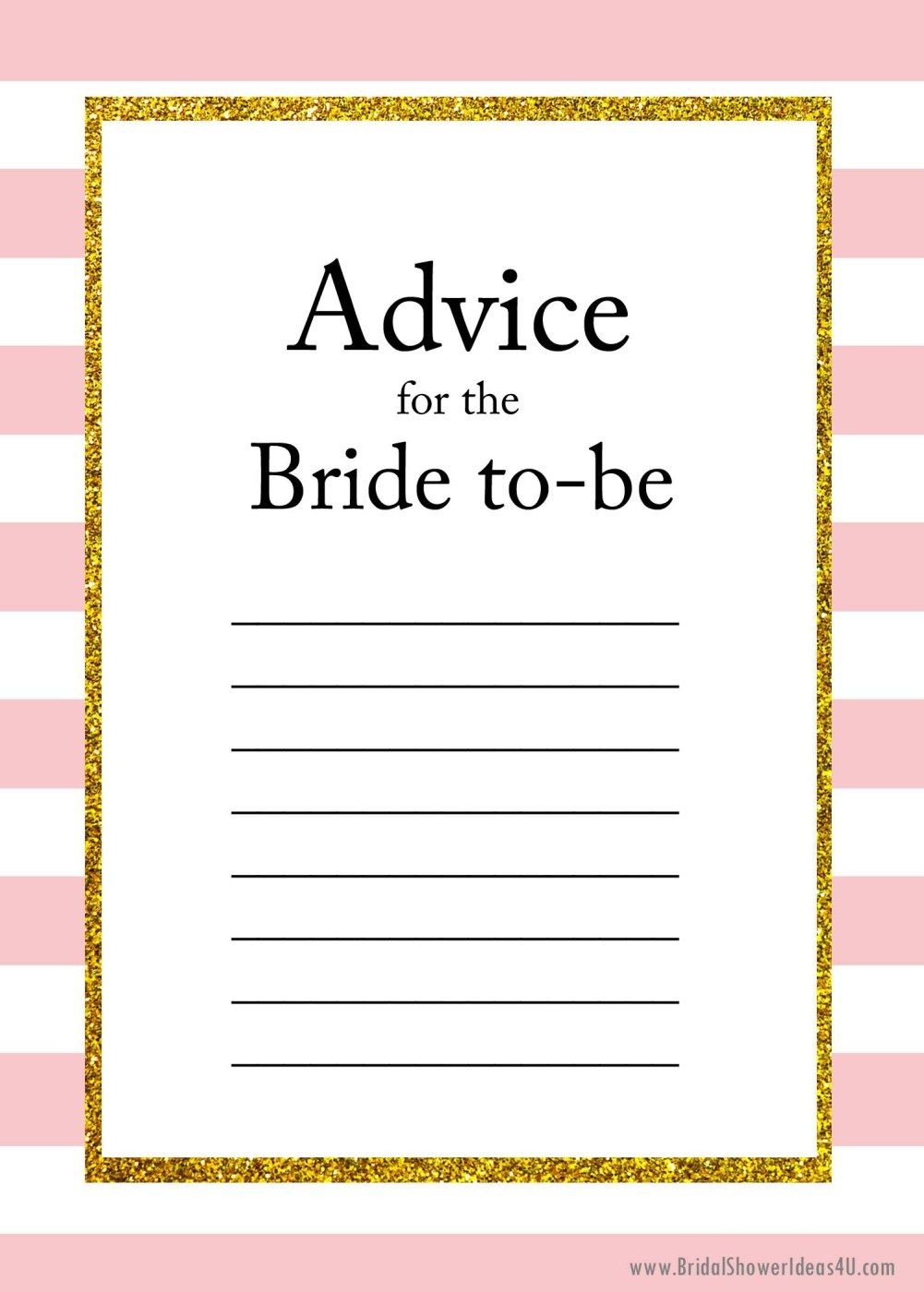 graphic about Printable Bridal Shower Cards titled Free of charge Printable Information for the Bride In direction of Be Playing cards favours