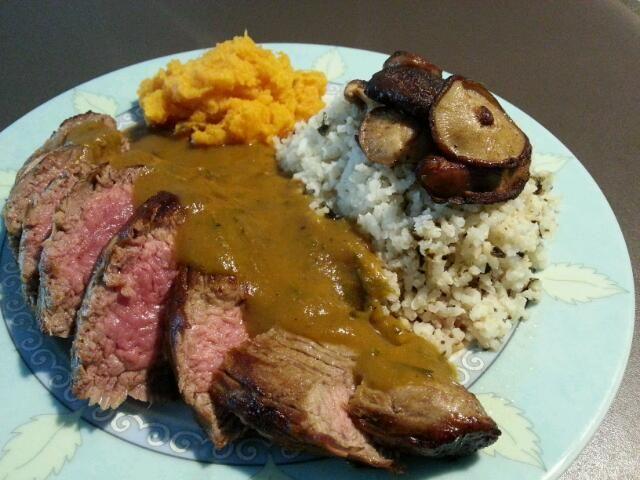 Shoulder tender with furikake-rice, sweet-potato mash mushrooms and short rib rootbeer sauce