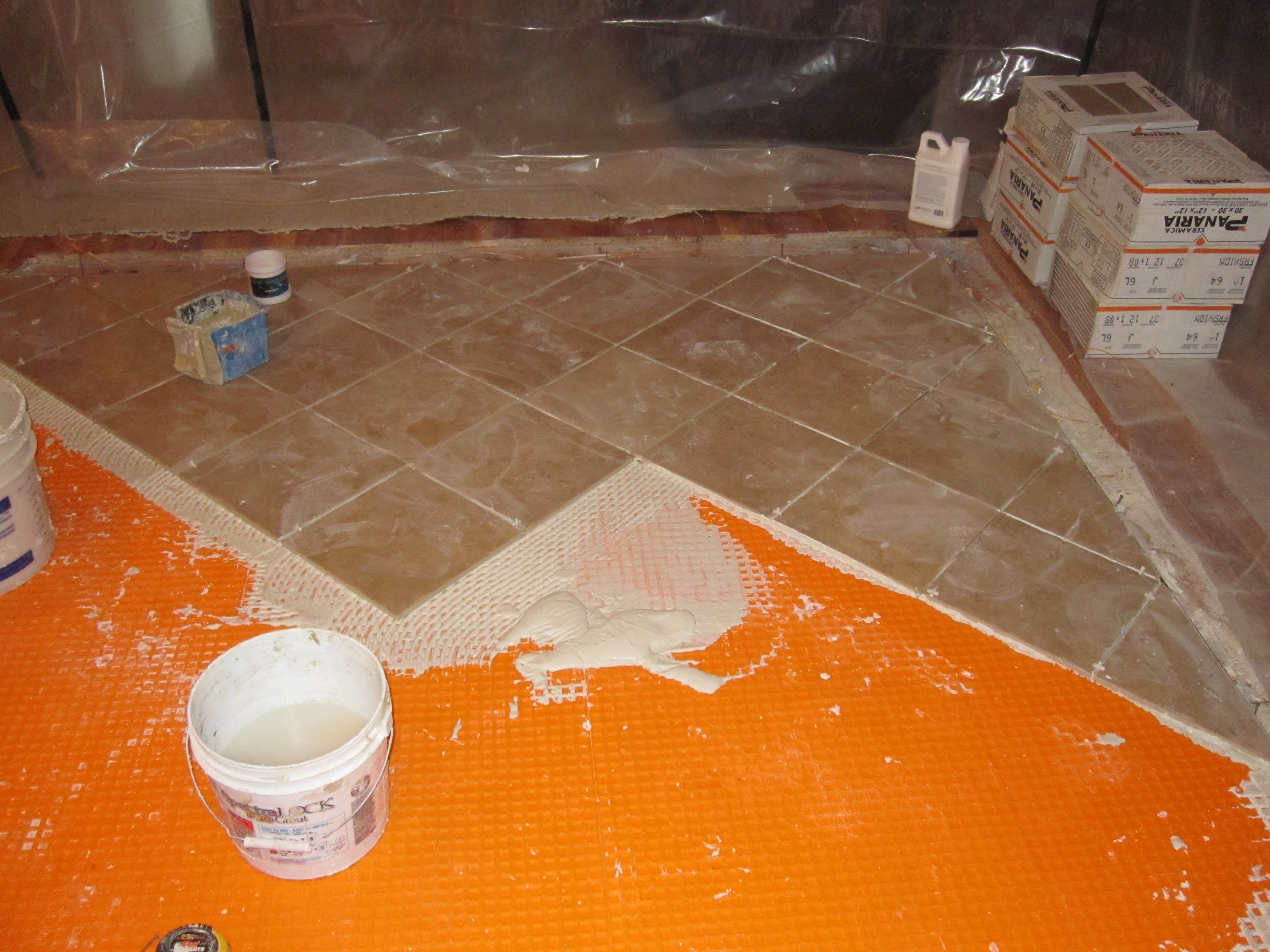 How To Install Schluter Ditra On Plywood Schluter Ditra Underlayment Is An Excellent Choice For A Tile Tile Floor Diy Tile Installation Radiant Heating System