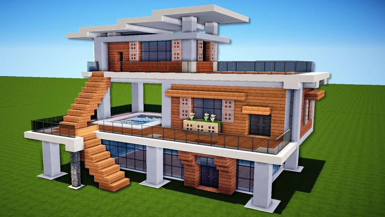 Minecraft How To Build A Modern House Easy Tutorial Easy Minecraft Houses Cute Minecraft Houses Minecraft Modern