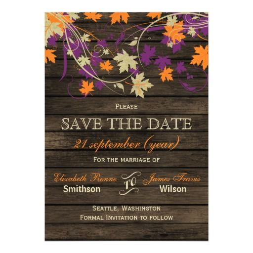 Barnwood Rustic Plum Orange Purple Fall Leaves Save The Date Invite Announcement