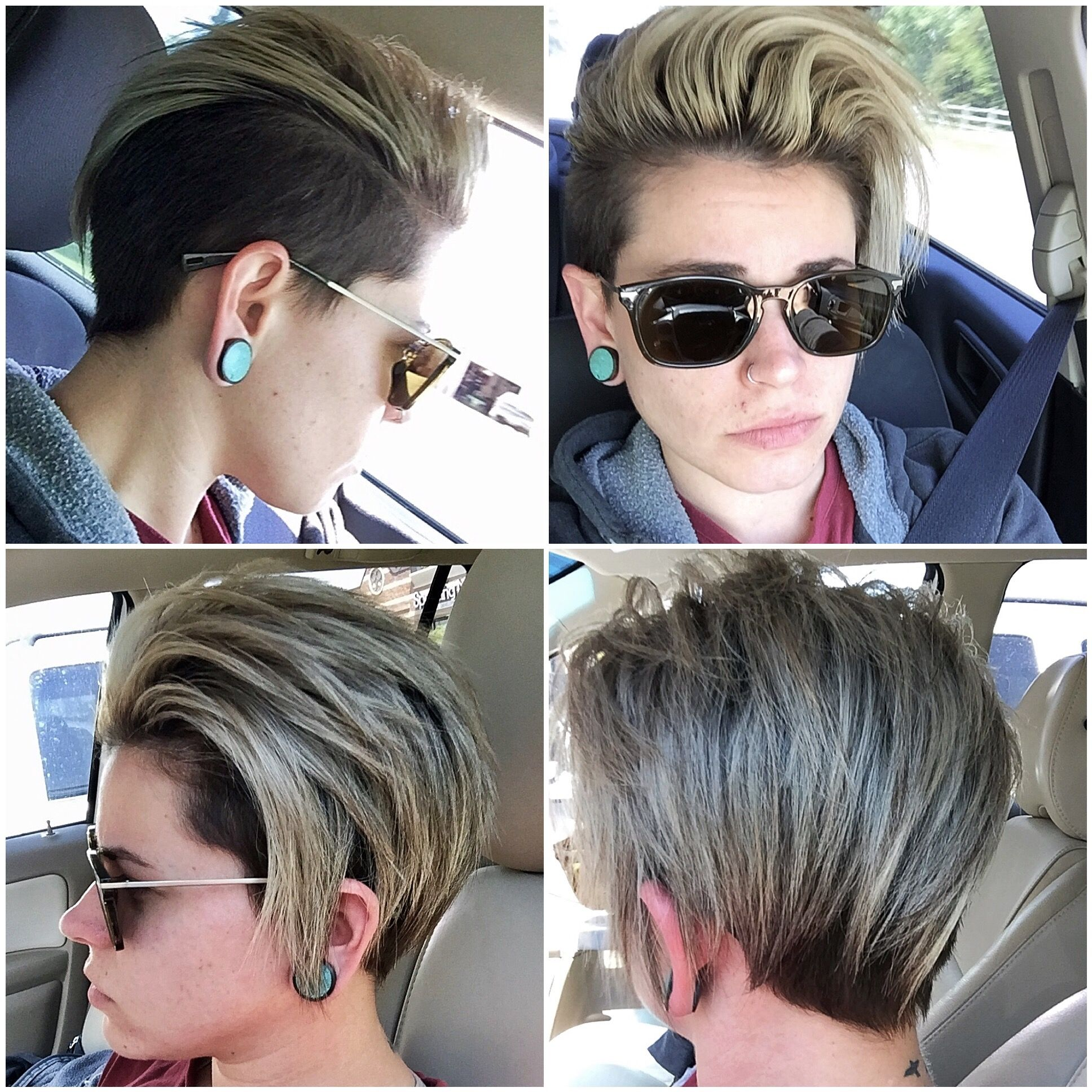 short lesbian hair undercut man bun topknot icy summer hair