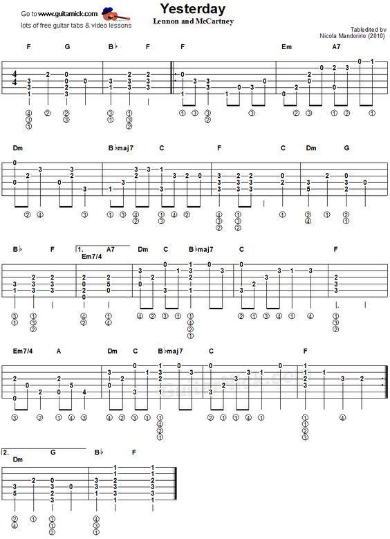Yesterday Fingerstyle Guitar Tablature Music Pinterest