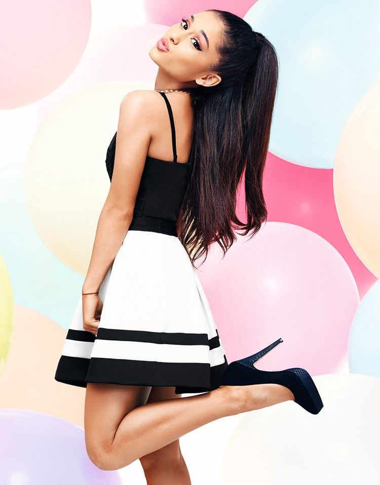 Ariana Grande For Lipsy Stripe Mini Skater Skirt