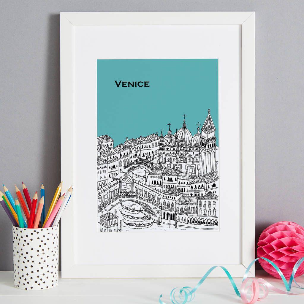 Beautifully screen printed illustration of venice
