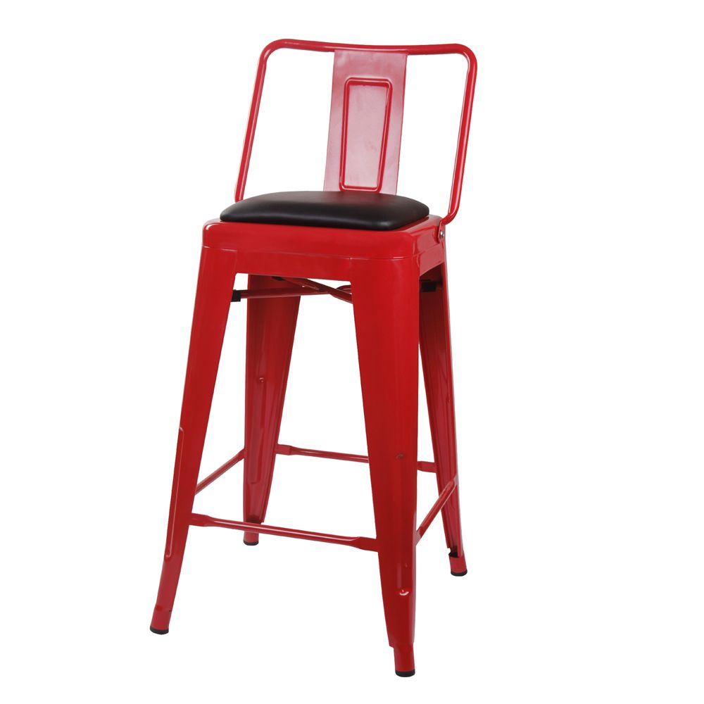 Details About 24 Industrial Style High Back Metal Bar Stool Red