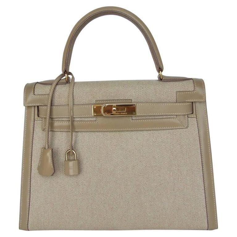 Hermes Kelly 28 Sellier Rigid Bag Bi Matiere Canvas Leather Beige GHW 1980 3712b54cf0329