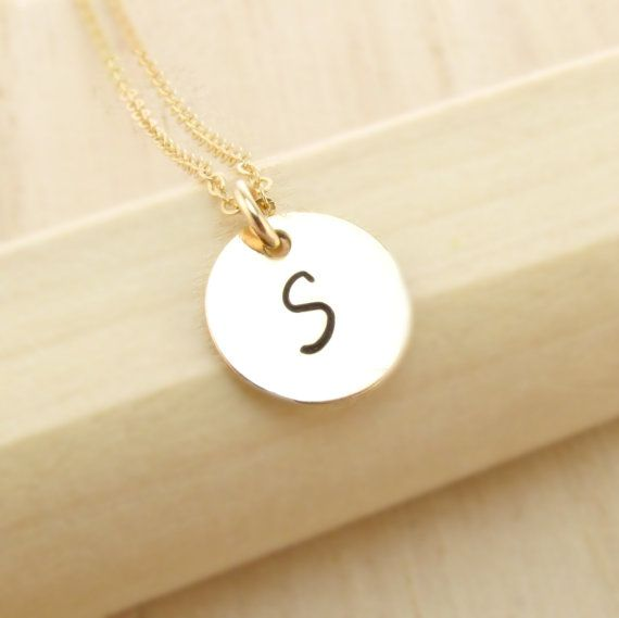 Gold initial necklace personalized gold initial necklace single 14k gold initial jewelry 1 2 3 4 5 initial necklace by tnine design aloadofball Image collections