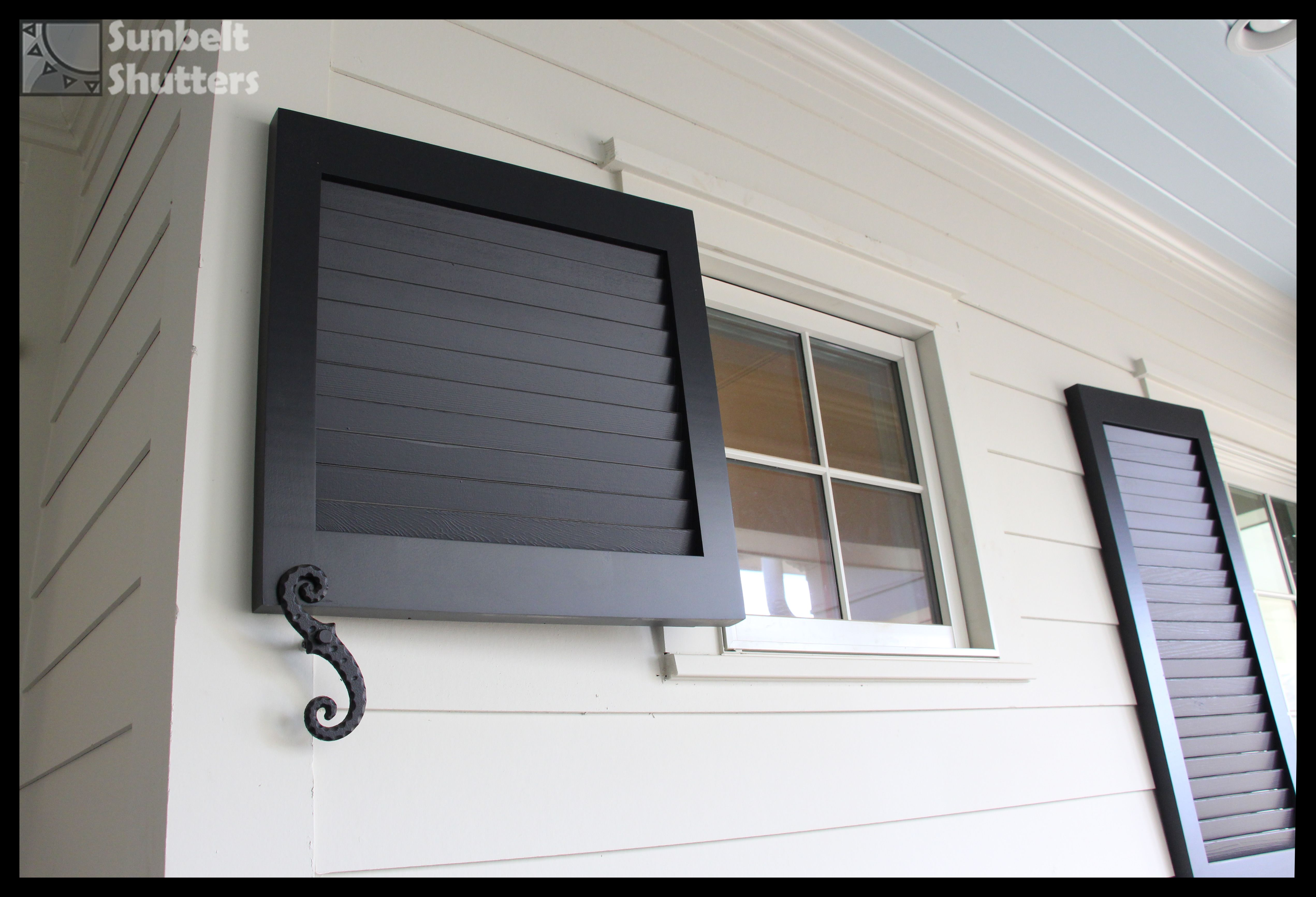 Do You Have A Small Window Is There Not Enough Room On Each Side Of A Window For Shutters It S Ok Just Pl Louvered Shutters Shutters Exterior Small Windows