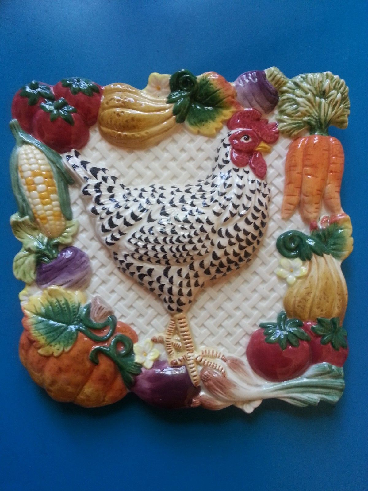 Fitz And Floyd 3D Rooster Wall Hanging Plate Autumn Decor