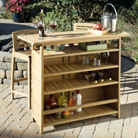 Home Styles 5660-99 Bali Hai Outdoor Bar Cabinet, Natural Teak Finish