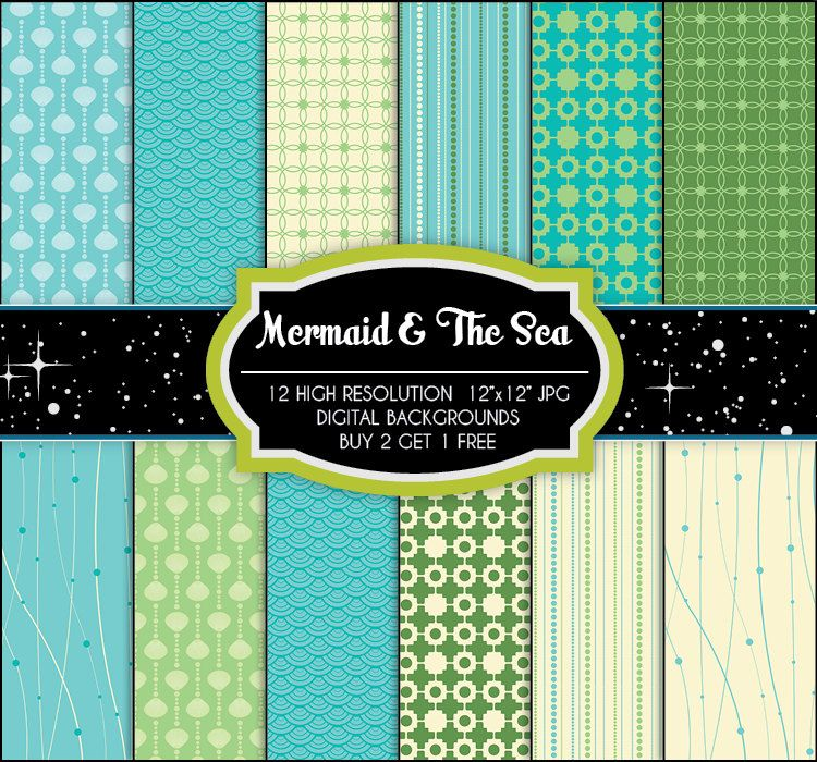 Mermaid \ The Sea - 12 Digital Backgrounds - Printable JPGs - birthday invitation backgrounds