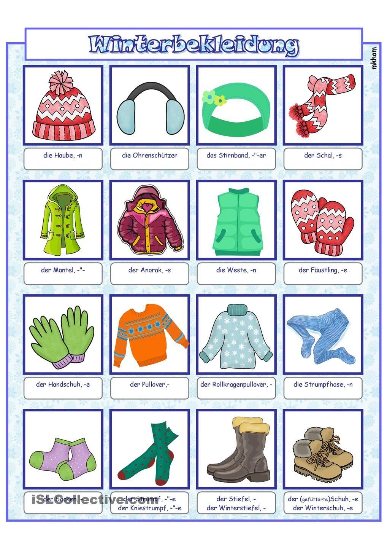 bildw rterbuch winterbekleidung interesante bilder pinterest deutsch wortschatz und. Black Bedroom Furniture Sets. Home Design Ideas