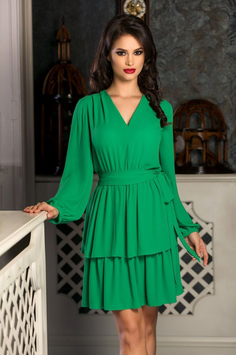 Rochie Anemone Verde Zoniaro Rochii Dresses With Sleeves