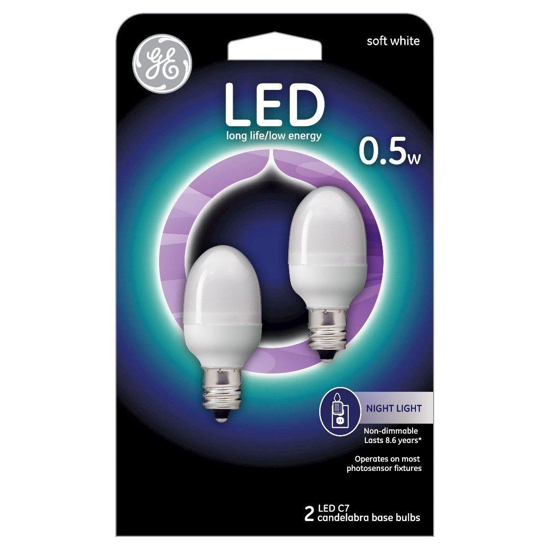 General Electric Led 2w 2pk Nightlight Light Bulb White Light Bulb Ge Led Night Light