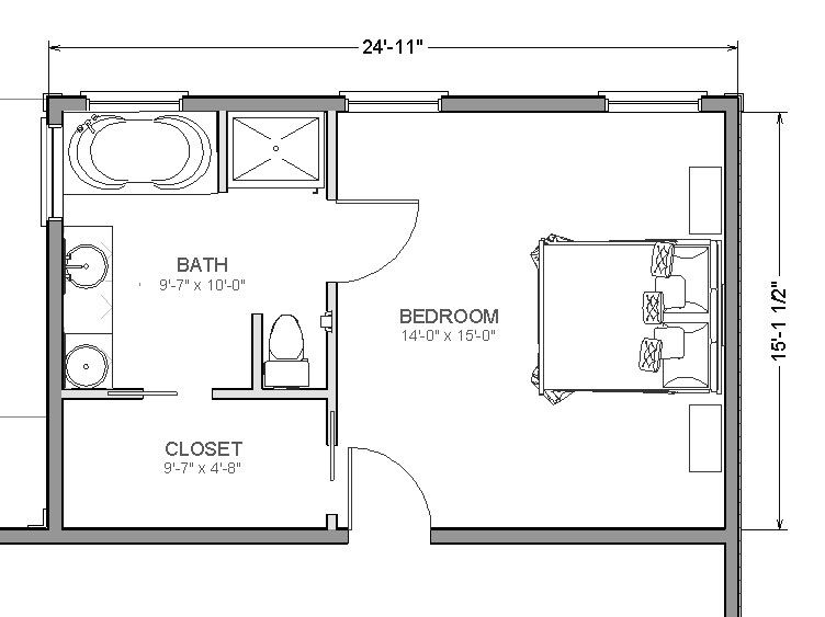 Master bedroom plans on pinterest hotel floor plan for 10x10 bathroom floor plans